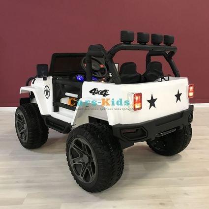 Электромобиль Jeep Wrangler 2WD WXE1688 белый (колеса резина, сиденье кожа, пульт, музыка)