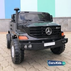 Электромобиль грузовик Mercedes-Benz Zetros 2WD - BDM0916 черный (2х местный, колеса резина, кресло кожа, пульт, музыка)